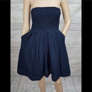 Gap Navy Blue Eyelet Strapless Dress